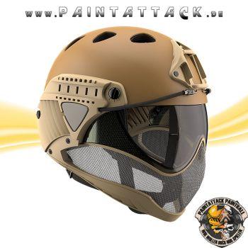 Taktischer Helm mit Thermalglas und Mesh Gitterschutz für Paintball und Airsoft tan