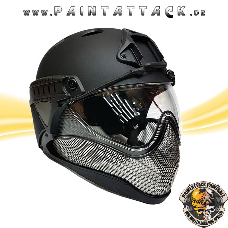 Taktischer Helm mit Thermalglas und Mesh Gitterschutz für Paintball und Airsoft schwarz